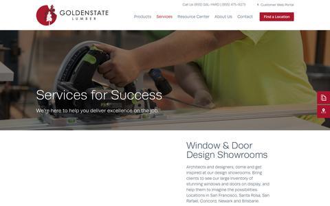 Screenshot of Services Page goldenstatelumber.com - Services | Golden State Lumber - captured Jan. 8, 2020
