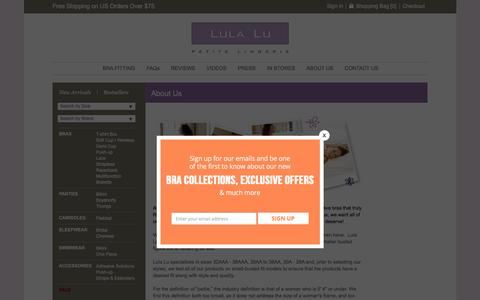 Screenshot of About Page lulalu.com - About Us | LulaLu.com - captured Sept. 26, 2016