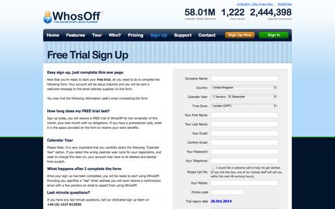 Screenshot of Signup Page whosoff.com - Sign up to your FREE trial of WhosOff - captured Sept. 19, 2014