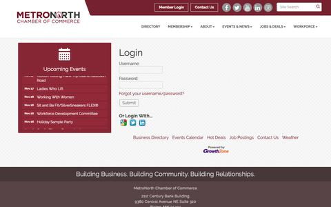 Screenshot of Login Page metronorthchamber.org - Login - MetroNorth Chamber of Commerce, MN - captured Nov. 26, 2018