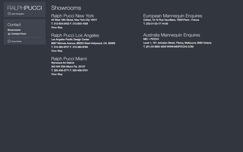 Screenshot of Contact Page ralphpucci.net - Ralph Pucci International, Contact - captured Sept. 30, 2014