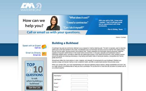Screenshot of Landing Page cmiwaterfront.com - Building a Bulkhead - captured Oct. 27, 2014