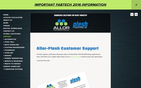 Screenshot of Support Page allorplesh.com - Support — Allor Manufacturing | Plesh Industries - captured Nov. 20, 2016