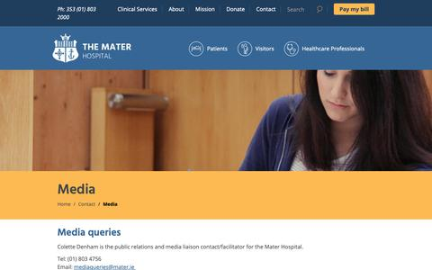 Screenshot of Press Page mater.ie - Media Queries | The Mater Hospital - captured Oct. 17, 2018