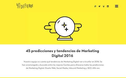 Screenshot of Home Page 40defiebre.com - Marketing de Contenidos | 40deFiebre - captured Jan. 13, 2016