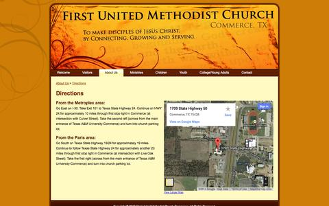 Screenshot of Maps & Directions Page fumccommerce.org - First United Methodist Church – Commerce, TX: Directions - captured Oct. 6, 2014