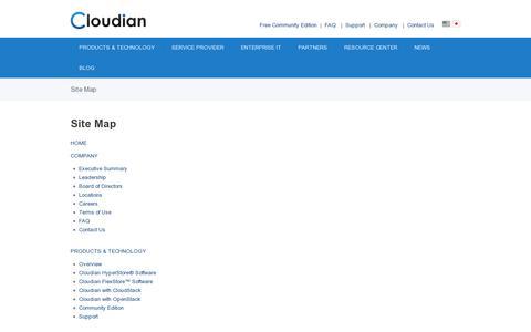 Screenshot of Site Map Page cloudian.com - Site Map | Cloudian, Inc. - captured July 20, 2014