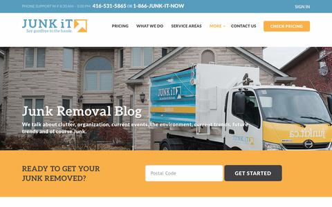 Screenshot of Blog junkit.ca - Junk Removal Blog - Junk It! - captured Sept. 20, 2018