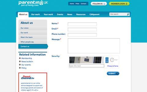Screenshot of Contact Page parentinguk.org - Parenting UK - captured June 11, 2016