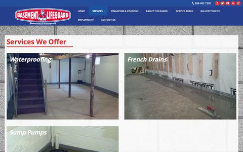 Screenshot of Services Page basementlifeguard.com - Basement Waterproofing Services | Basement Lifeguard - captured June 1, 2017