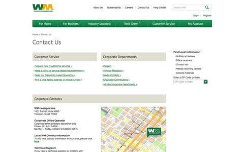 Screenshot of Contact Page wm.com - Contact Us | Waste Management - captured Sept. 18, 2014