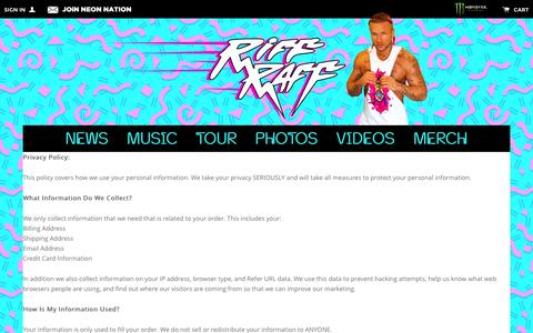 Screenshot of Privacy Page jodyhighroller.com - Privacy Policy Đ Riff Raff - captured Jan. 15, 2016