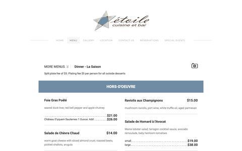 Screenshot of Menu Page etoilecuisine.com - Menu - Étoile Cuisine et Bar - captured Sept. 29, 2018