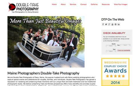 Screenshot of Home Page doubletakephotography.com - Maine Wedding Photographers Double-Take Photography Saco Maine - captured Sept. 30, 2014