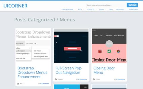 Screenshot of Menu Page uicorner.com - Menus  |   UICorner-User interface design resources,articles and tutorials - captured Nov. 3, 2014