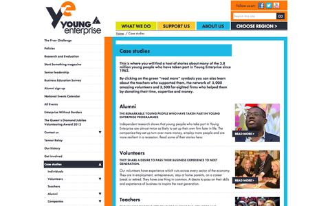 Screenshot of Case Studies Page young-enterprise.org.uk - Young Enterprise » Case studies - captured Oct. 27, 2014