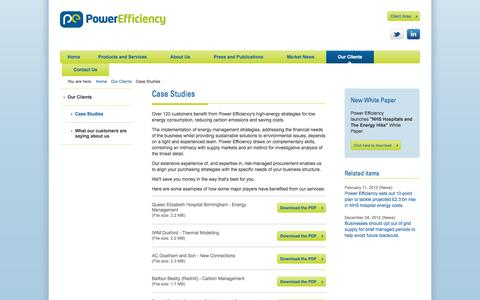 Screenshot of Case Studies Page powerefficiency.co.uk - Case Studies - captured Oct. 2, 2014
