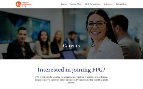 Screenshot of Jobs Page franchiseperformancegroup.com - Careers - Franchise Performance Group - captured Aug. 21, 2018