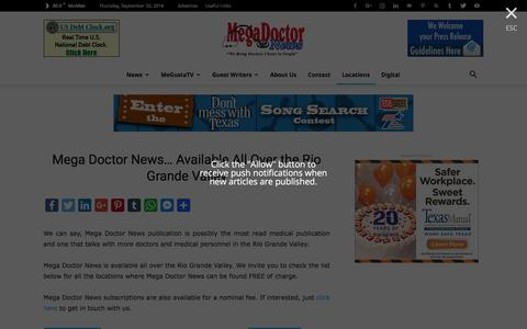 Screenshot of Locations Page megadoctornews.com - Drop-Off Locations - Mega Doctor News - captured Sept. 20, 2018