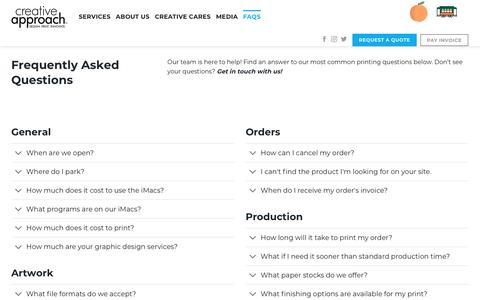 Screenshot of FAQ Page mycreativeapproach.com - Frequently Asked Questions | Creative Approach Print & Design - captured Sept. 22, 2019