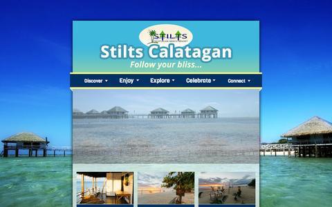 Screenshot of Home Page stiltscalataganbeachresort.net - Stilts Calatagan   follow your bliss - captured Oct. 9, 2014