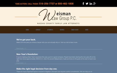 Screenshot of Blog weismanpc.com - Family & Divorce Law Blog | Long Island, Nassau County, Queens NY | Weisman Law Group PC - captured Jan. 23, 2016
