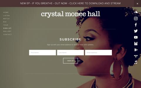Screenshot of Signup Page crystalmoneehall.com - Sign Up! — Crystal Monee Hall - captured Feb. 8, 2018