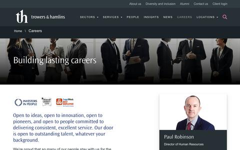 Screenshot of Jobs Page trowers.com - Careers -Trowers & Hamlins International Law Firm - captured July 12, 2019