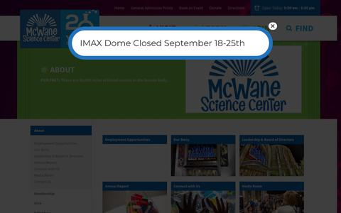 Screenshot of About Page mcwane.org - About | McWane Science Center - captured Sept. 25, 2018
