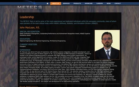 Screenshot of Team Page metecs.com - METECS - Leadership - captured Sept. 30, 2014