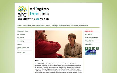 Screenshot of About Page arlingtonfreeclinic.org - About Us | Arlington Free Clinic | Providing high-quality medical care to low-income, uninsured Arlington County adults - captured Sept. 30, 2014