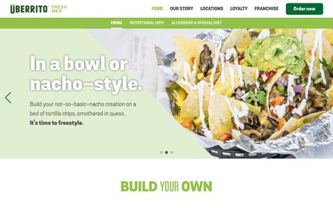 Screenshot of Menu Page uberrito.com - Menu | Überrito Fresh Mex - captured Nov. 22, 2018