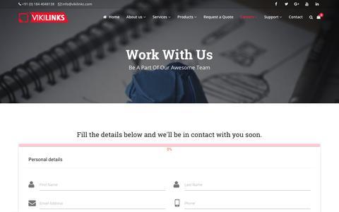 Screenshot of Jobs Page vikilinks.com - Work with us - Best Designing Services in India - Vikilinks - captured Nov. 19, 2018