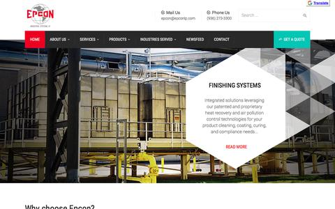 Screenshot of Home Page epconlp.com - Industrial Thermal Oxidizers | Industrial Ovens Manufacturer - Epcon Industrial Systems, LP - captured May 18, 2018