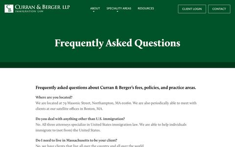 Screenshot of FAQ Page curranberger.com - Frequently Asked Questions – Curran & Berger LLP - captured Sept. 17, 2017