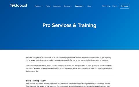 Screenshot of Services Page oktopost.com - Social Media Professional Services & Training  | Oktopost - captured Nov. 22, 2015