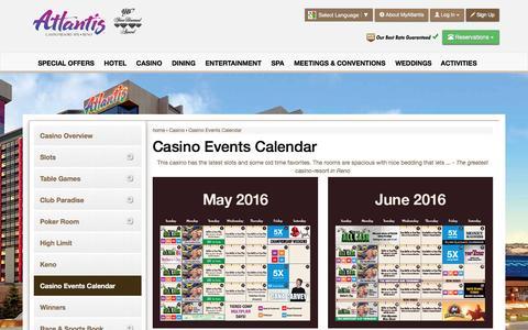 Screenshot of atlantiscasino.com - Casino Events Calendar | Atlantis Casino Reno - captured May 26, 2016