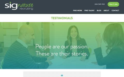 Screenshot of Testimonials Page sigrecruiting.com - Testimonials | SIGnature Recruiting - captured Sept. 27, 2016