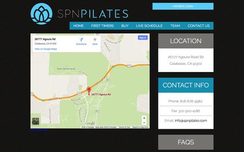 Screenshot of Contact Page spnpilates.com - Contact - SPN Pilates - captured Sept. 30, 2014
