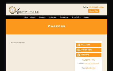 Screenshot of Jobs Page albrittontitle.com - Careers - Palm Harbor, FL Title Company | Albritton Title, Inc. - captured Oct. 7, 2017