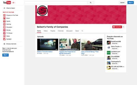 Screenshot of YouTube Page youtube.com - Seibert's Family of Companies  - YouTube - captured Nov. 3, 2014