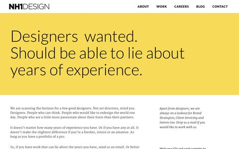Screenshot of Jobs Page nh1design.com - NH1 Design � Careers - captured Jan. 11, 2016