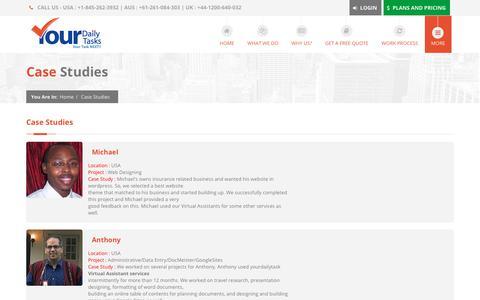 Screenshot of Case Studies Page yourdailytask.com - Case Study   YourDailyTask   Virtual Assistant Experts - captured Jan. 31, 2018