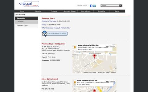 Screenshot of Contact Page Locations Page visualsolutions.com.my - Visual Solutions - Contact - captured Oct. 26, 2014