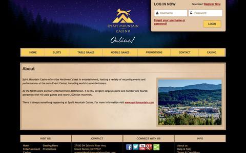 Screenshot of About Page spiritmountainonline.com - About   Spirit Mountain Casino - captured July 2, 2016