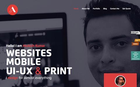 Screenshot of Home Page atulesh.com - Atulesh Kumar - Website & UI-UX Designer - captured Sept. 12, 2015