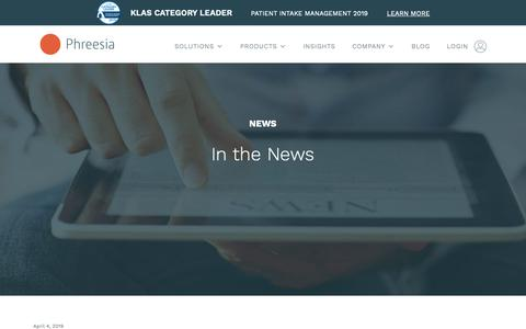 Screenshot of Press Page phreesia.com - News, Press Releases and Announcement | Phreesia News - captured May 2, 2019