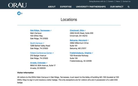 Screenshot of Locations Page orau.org - Locations | ORAU - captured Sept. 21, 2018