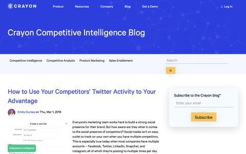 Screenshot of Blog crayon.co - Crayon Blog – Marketing Insights and Inspiration | Social Media Intelligence - captured Feb. 10, 2020