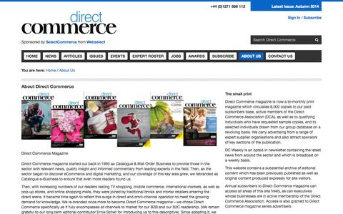 Screenshot of About Page directcommercemagazine.com - Direct Commerce Magazine | About Us - captured Sept. 25, 2014
